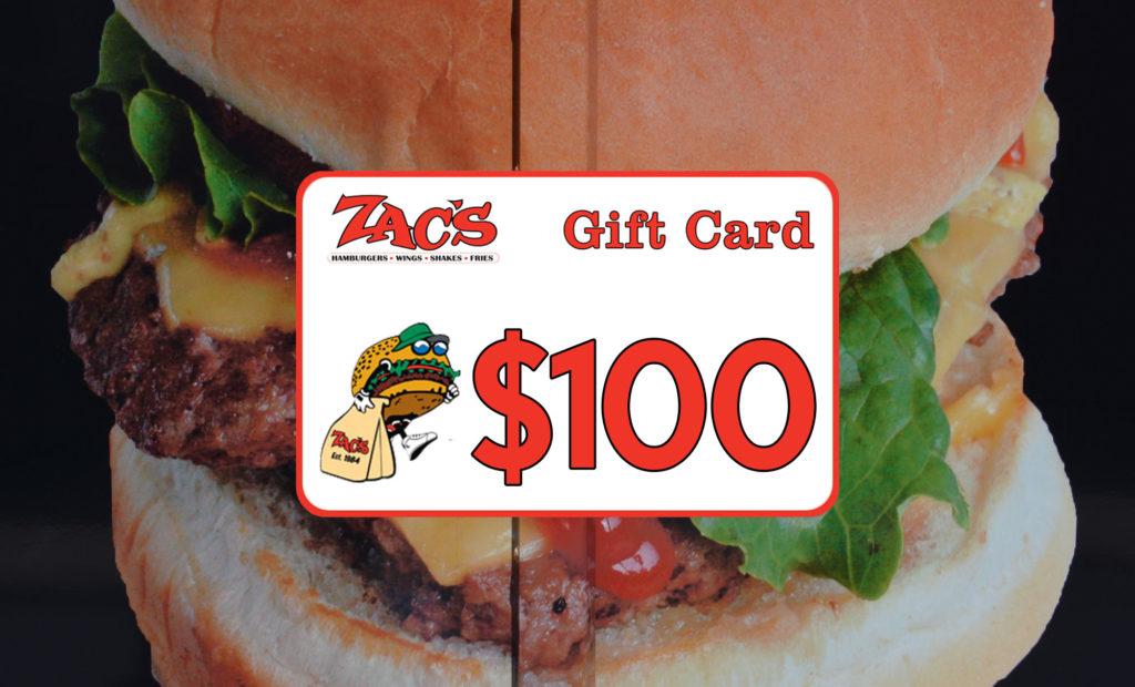 Win a $100 Zac's Gift Card!