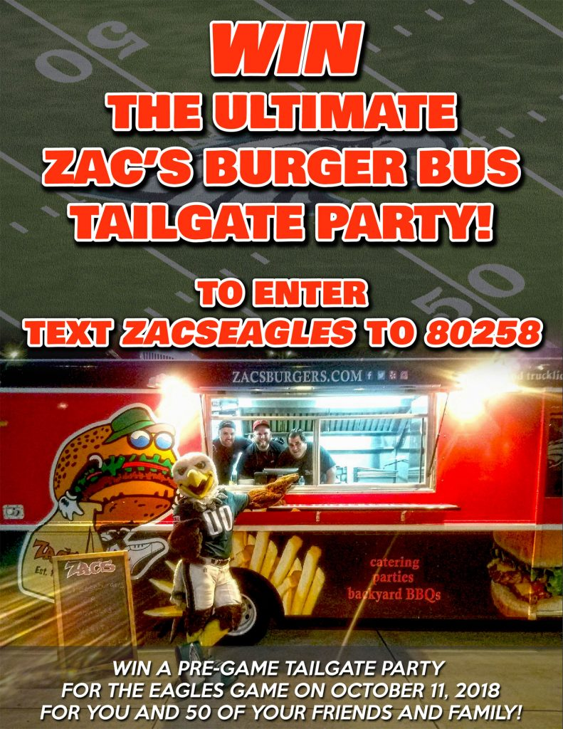 Win the Ultimate Zac's Burger Bus Tailgate Party!